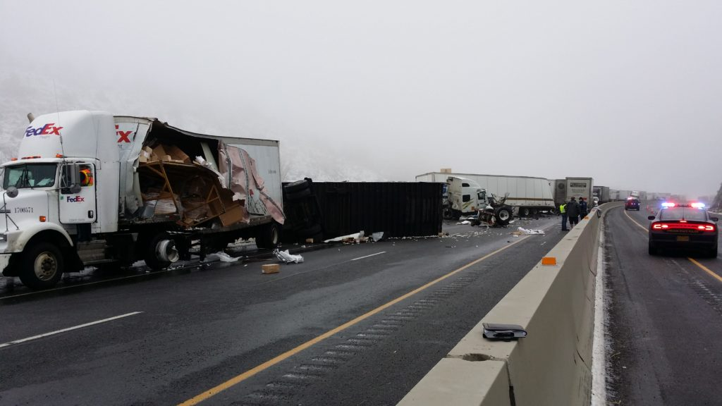 Oregon State Police I84 Truck Crash Photo