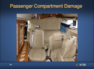 This slide from the NTSB's presentation shows the crushed interior of the limo after the collision.