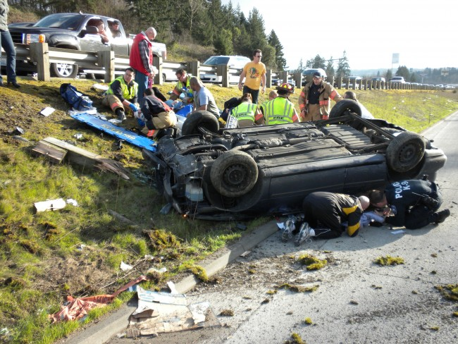 Car flipped I5-Truck crash cause_No Safety Inspections
