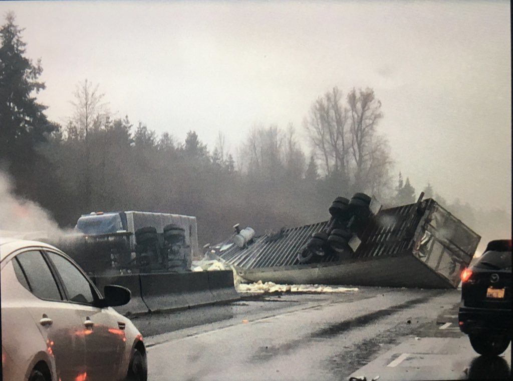 WSP-Semi truck crash tractor trailer rollover